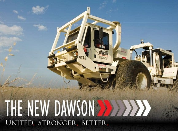 Beige-colored equipment truck with Dawson logo on the side, driving through a prairie field, with slogan reading The New Dawson.