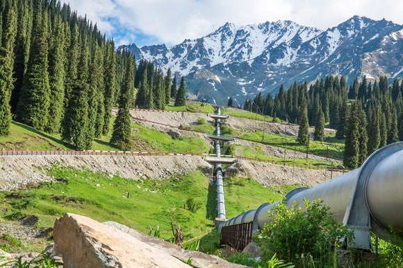 A pipeline on a mountain