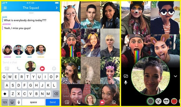 Screenshots of Snap's new group video chat feature.