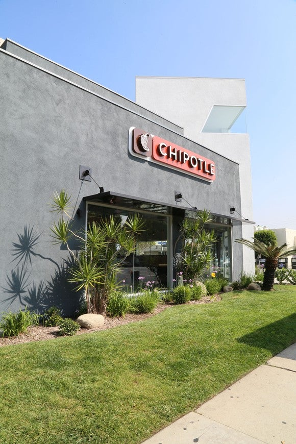 The exterior of a Chipotle restaurant in California.