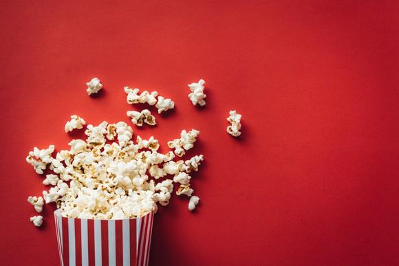 Popcorn in a popcorn box.