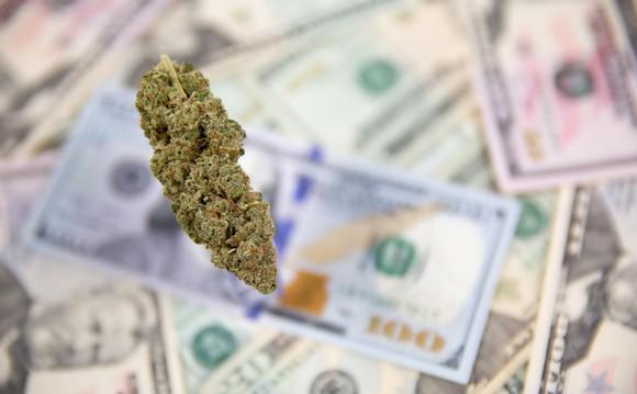 Marijuana bud over blurred image of $100 bills and $50 bills