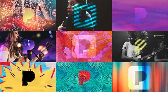 Collage of the Pandora media logo overlaying various colorful backgrounds and musicians performing