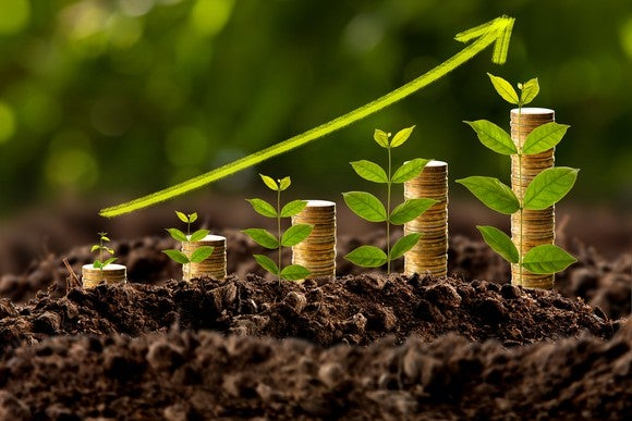 Stacks of gold coins and plants growing in soil, with a green, upward pointing graph arrow.