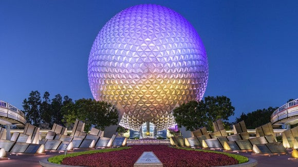 EPCOT's Spaceship Earth at night.