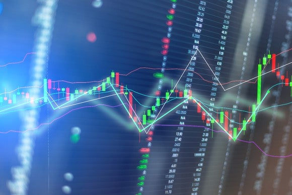 Stock price chart on dark background.