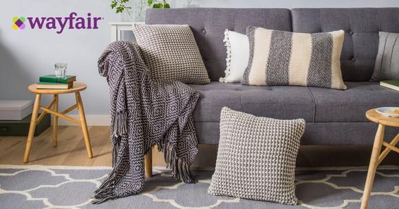 Sofa with decor offered through Wayfair.