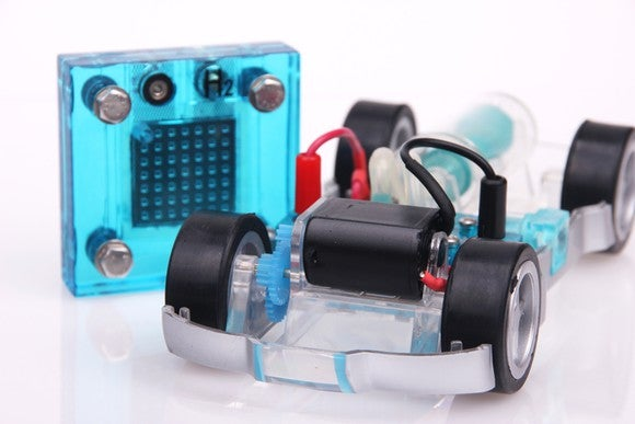 A lab scale fuel cell and a toy car.