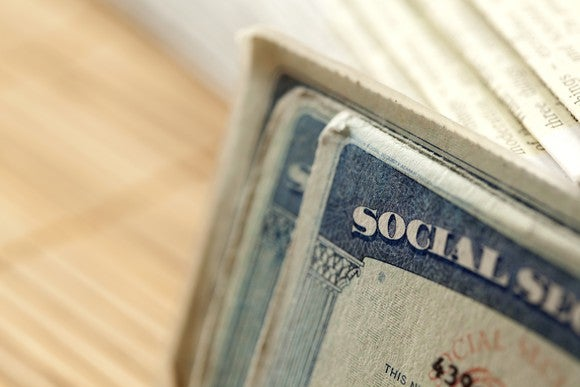 Close up of social security cards.