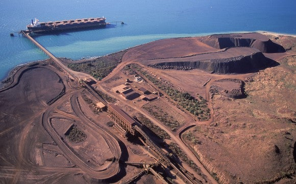 An iron-ore mine along a shoreline, seen from the air