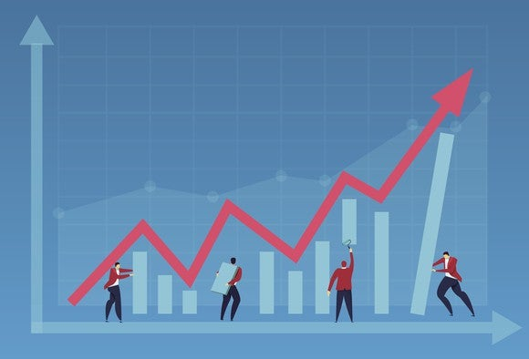 Cartoon figures and upward graph.