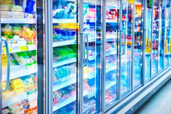 The frozen foods aisle at a grocery store.