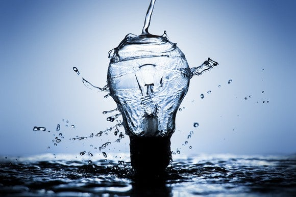 Water flowing over a light bulb.