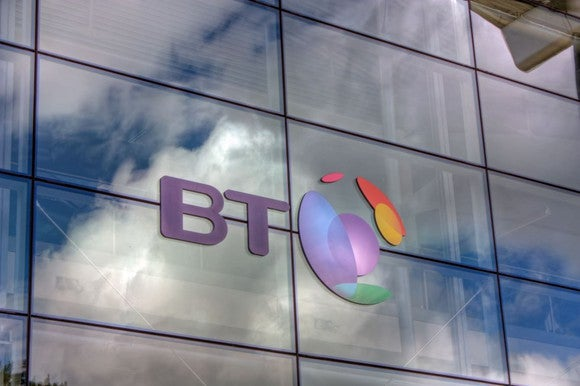 BT logo on the side of a building