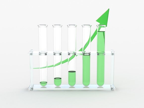 Five test tubes with increasing levels of green liquid from left to right and green arrow drawn behind them curving upward