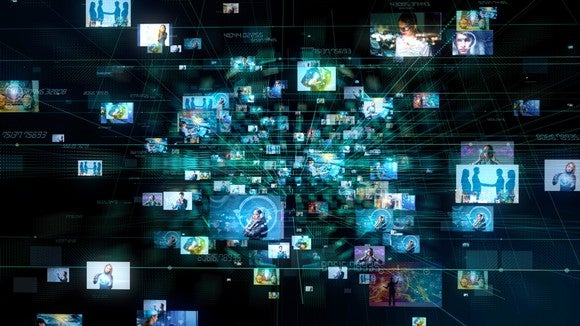 Dozens of television display images, emanating from a central point, and growing in size as they come closer to the viewer.