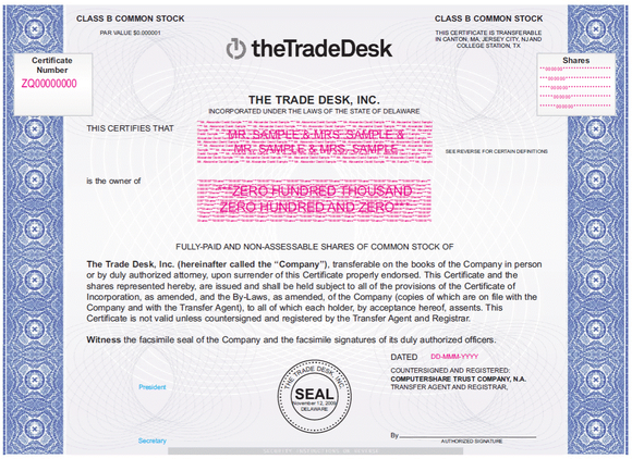Blue and white share certificate for the Trade Desk.