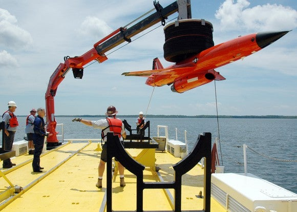Kratos target drone on a vessel on the water.