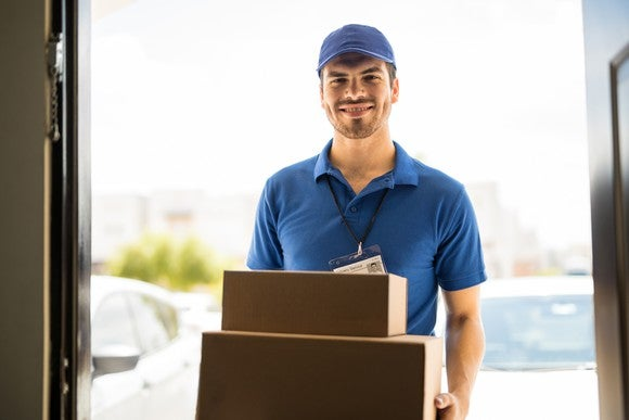 Delivery driver with boxes