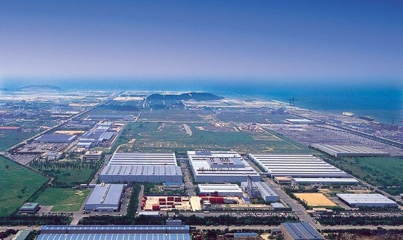 An overhead view of GM Korea's Gunsan manufacturing plant