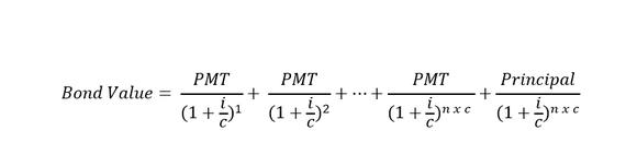 Mathematical formula for bond value.