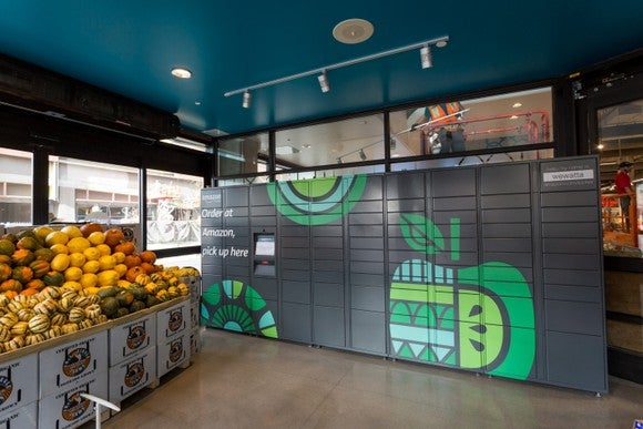 An Amazon Locker located inside a Whole Foods.