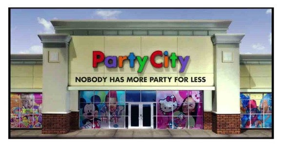 PartyCity store location with various products in window.