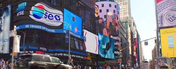 View of Times Square news ticker during Sea's IPO.