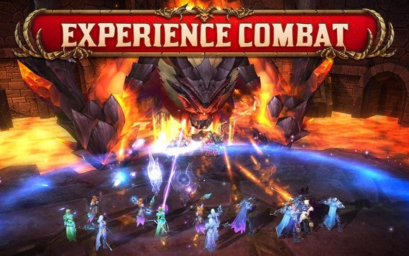 Game showing a dozen small players fighting a large fire-breathing dragon.