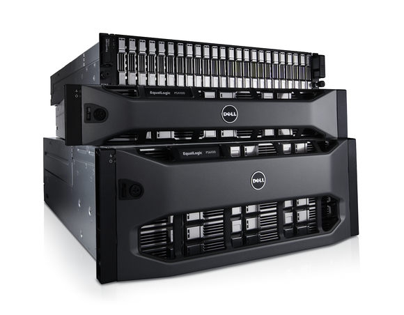 Dell server hardware units stacked on top of each other.