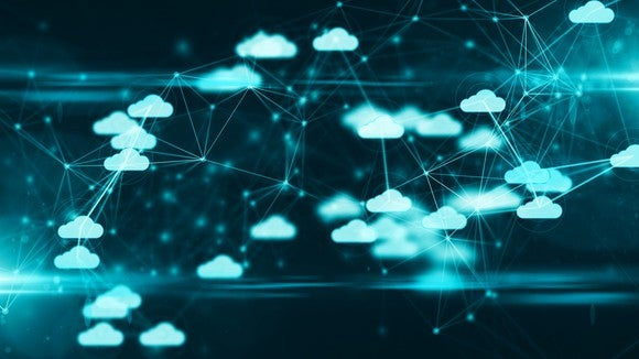 Many small digitally connected clouds -- concept for cloud computing.