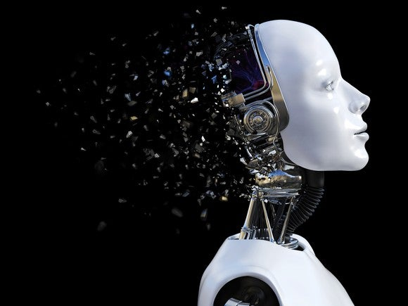 A female robot's head shattering.