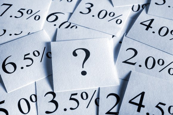 Various interest rates written on small squares of paper.