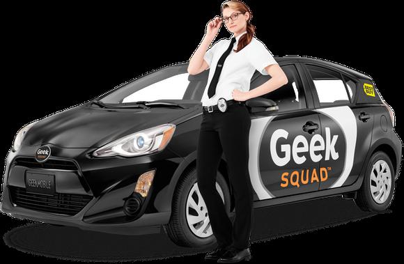Female Geek Squad member from Best Buy posing next to Geek Squad car