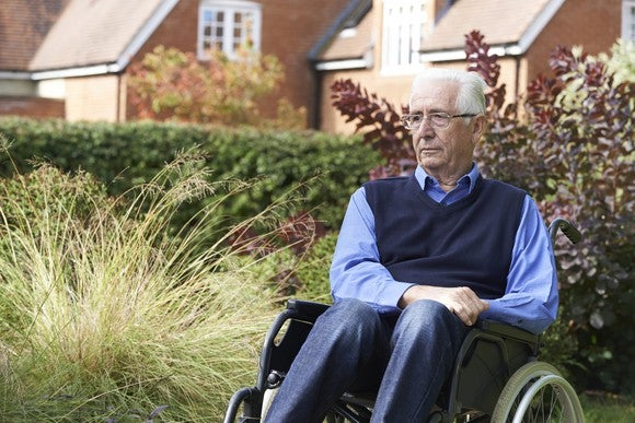 Senior man in a wheelchair outdoors