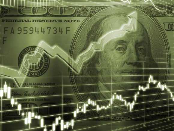 Two chart lines on top of an American hundred-dollar bill, with one line trending up and the other down.