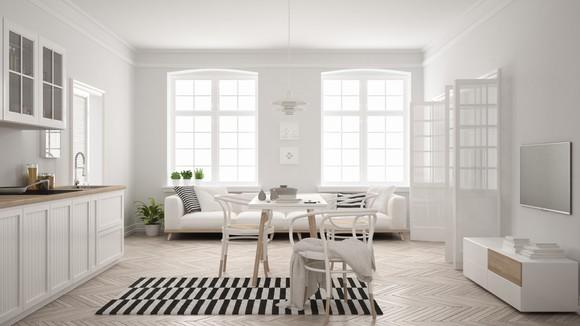 Luxury furniture in modern apartment.