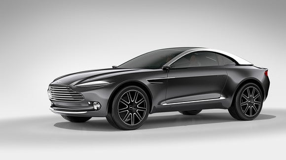 The Aston Martin DBX, an SUV with a low, coupe-like roofline.