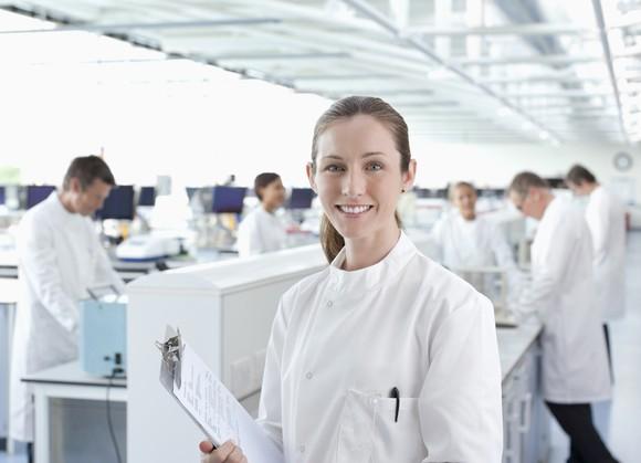 Smiling scientist.