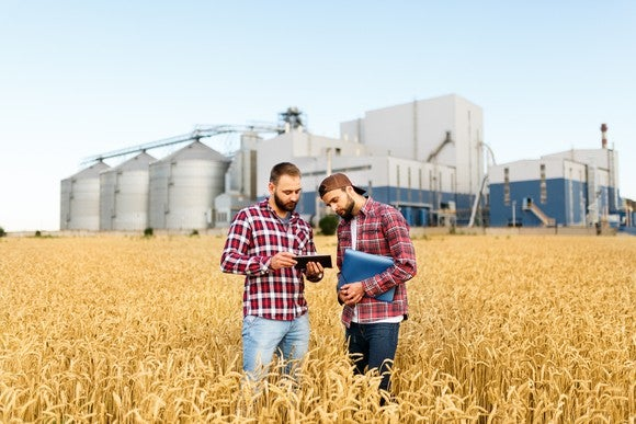 Two farmers standing in field of wheat, with a harvesting facility behind them