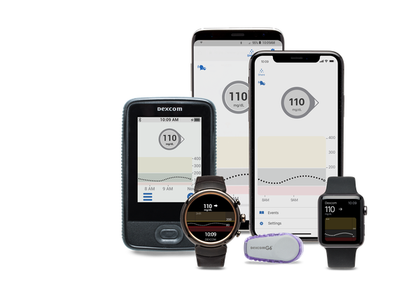 The devices included in the DexCom G6 system.