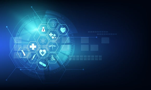 Hexagonal shapes with healthcare icons on them
