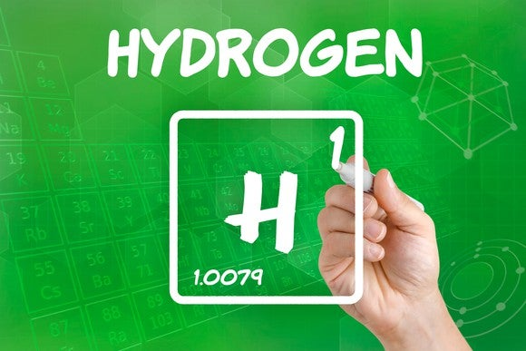 The symbol for hydrogen as it appears on the periodic table of elements.