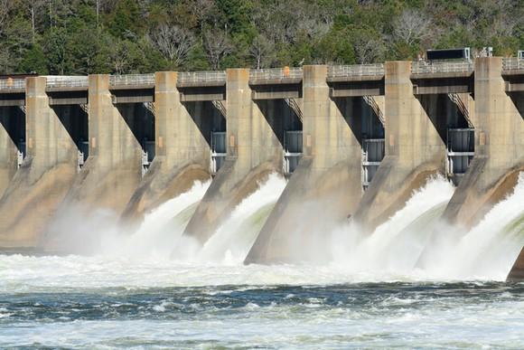 A hydroelectric dam spillway.