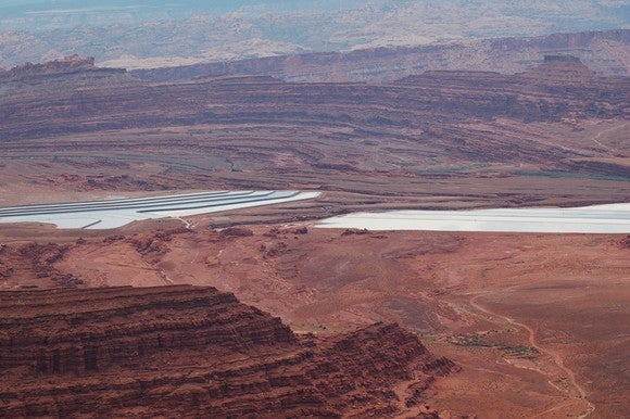 A solar evaporation pond for potash production in the desert.