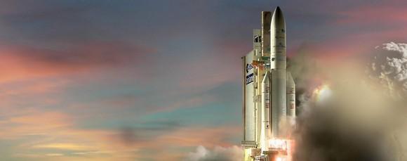 Ariane rocket on pad