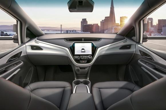The interior of GM's Cruise AV.