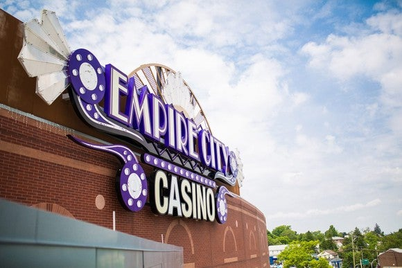 Empire City Casino sign on the side of a building.