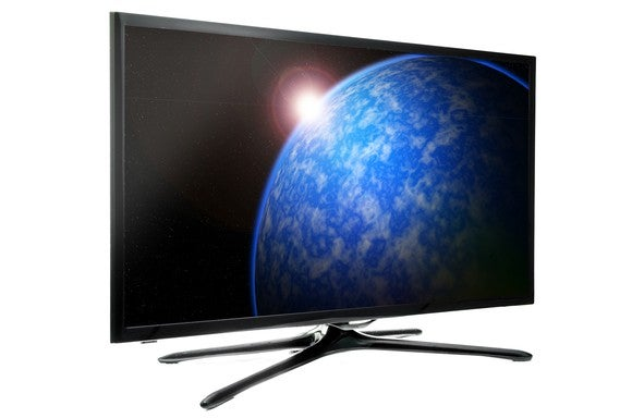 Flat panel TV showing sun rising over Earth