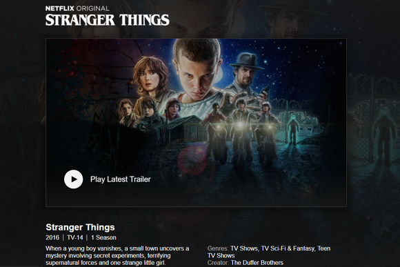 Landing screen for Netflix original series Stranger Things